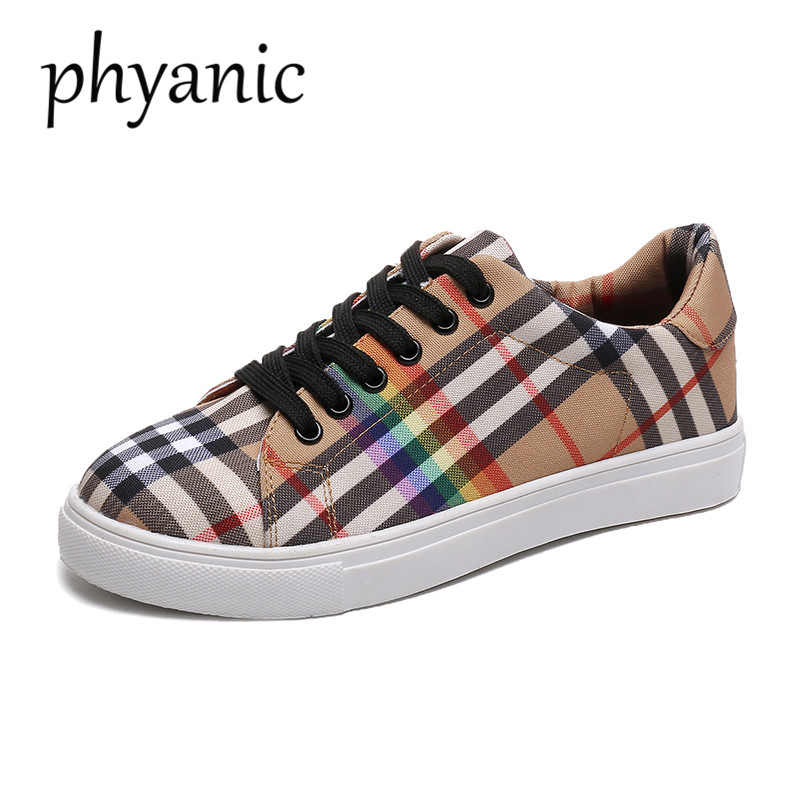 Phyanic 2018 New Style Spring Summer New Korean Women Fashion Flat Canvas Shoes Female Rainbow Plaid Board Shoes Casual women s shoes 2017 summer new fashion footwear women s air network flat shoes breathable comfortable casual shoes jdt103