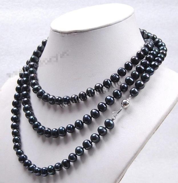 """FREE SHIPPING>>>@@ > Hot sale new Style >>>>>Long 50"""" 8-9mm Natural Black Akoya Cultured Pearl Fashion Jewelry Necklace"""