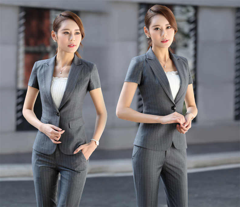 44dcb2ee1f74d ... Elegant Grey Striped Formal Professional Business Women Suits With  Jackets And Pants Female Trousers Sets Summer ...