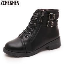 ZCHEKHEN Fashion Women Motorcycle Martin Boots British Style Gothic Punk Flat Heel Black Brown Boots Shoes Woman