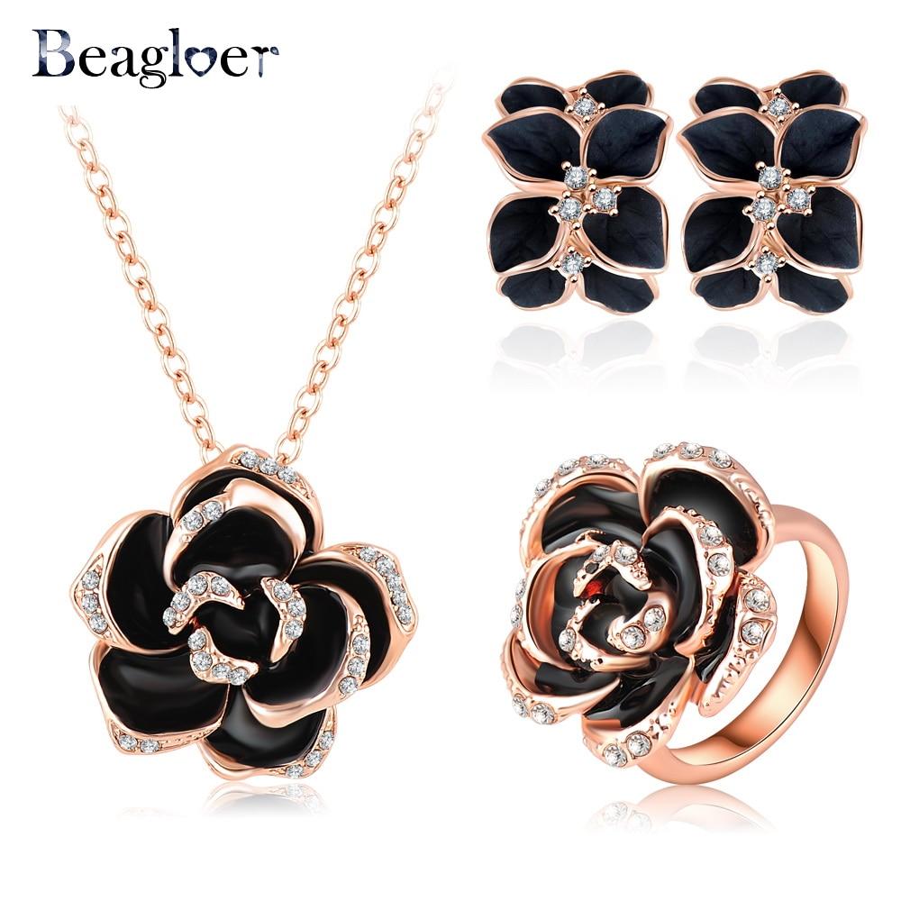 Beagloer Best Seller Jewelry Set Rose Gold Color Crystal ...