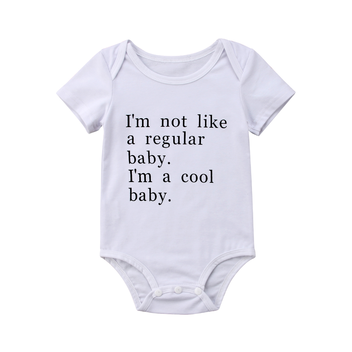 I'm a cool baby Letter Print Newborn Baby Boys Girls Short Sleeves Romper Cotton White Jumpsuit for infant Baby 2018 New