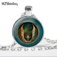HZ--A382 New Jedi Order Necklace Inspired Rope Chain High Quality Necklace star war Glass Photo Pendant wholesale HZ1(China)