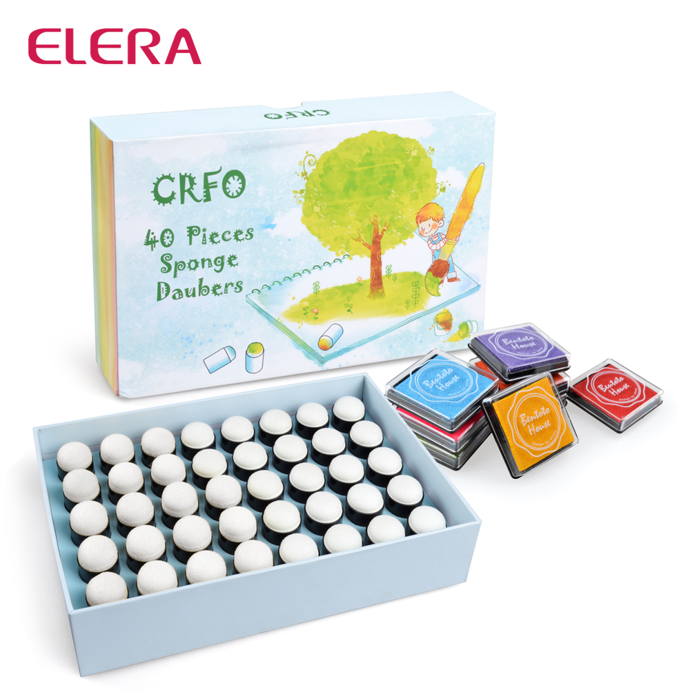 ELERA Sponge Finger Daubers Foam With Box Finger Painting Craft Set Finger Paint Drawing Sponge Foam Finger Chalk Ink elera 20pcs lot finger daubers foam ink chalk inking staining altering any craft project finger painting drawing with box