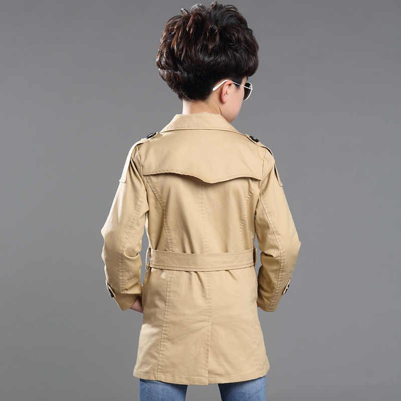 Chłopiec wykop płaszcz nowy 2018 z długim rękawem odzież wierzchnia dla dzieci wiatrówka chłopcy dzieci Trench Coat czarny i Khaki odzież wierzchnia 4-16Y