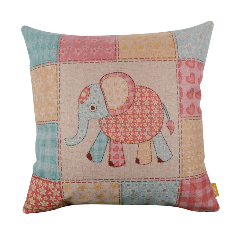 LINKWELL 45x45cm Fashion Flower Elephant Animal Cute Linen Cushion Cover Throw Pillow case home for Kid Baby Room