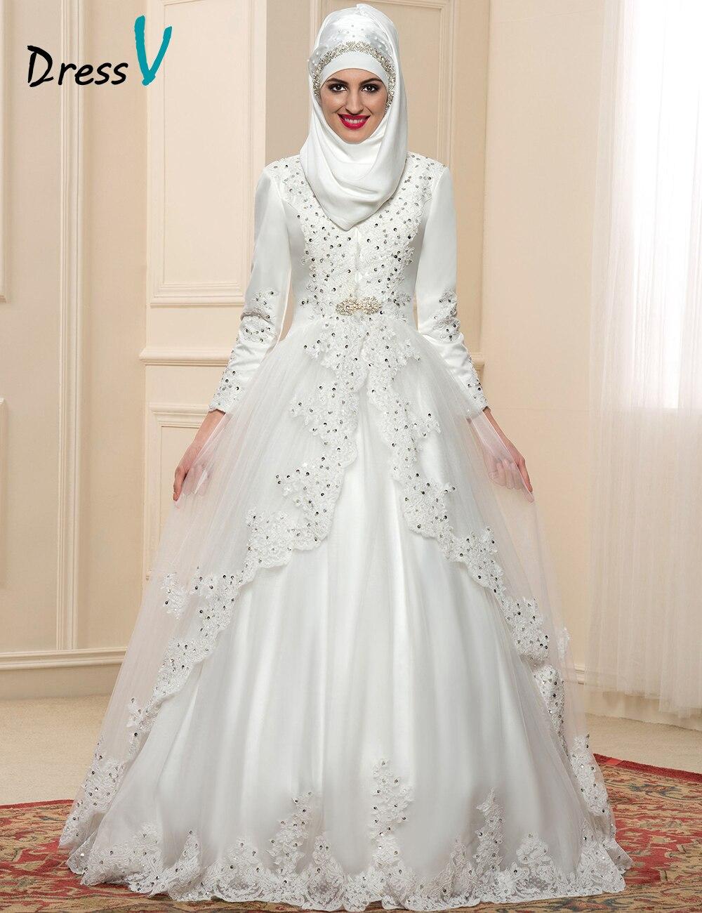 Luxury Long Sleeves Muslim Wedding Dresses Hijab High Neck Vintage Dubai Bridal Gowns Applique Beaded Kaftan Abiti Da Sposa In From Weddings
