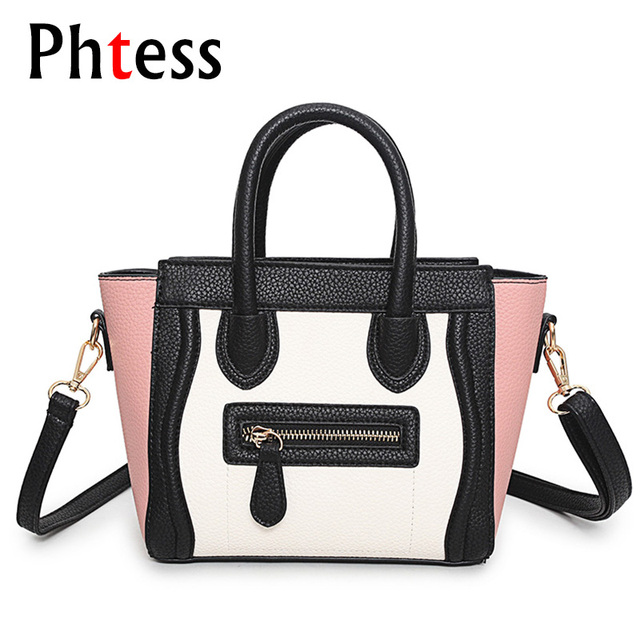 7bc8f54013c7 US $31.65 |2018 Trapeze Smiley Tote Bag Female Luxury Brand Pu Leather  Women Handbag Shoulder Bag Famous Designer Crossbody Bags Sac a main-in ...