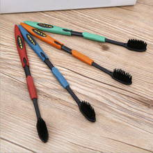 4PCS Oral Care Bamboo Charcoal Nano Dental Care Toothbrush Double Ultra Soft Nano-antibacterial Black Heads Toothbrush