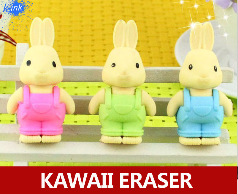 Novelty Cute Rabbit Pencil Eraser , Kawaii Cartoon Rabbit Eraser For School Kids Writing Stationary