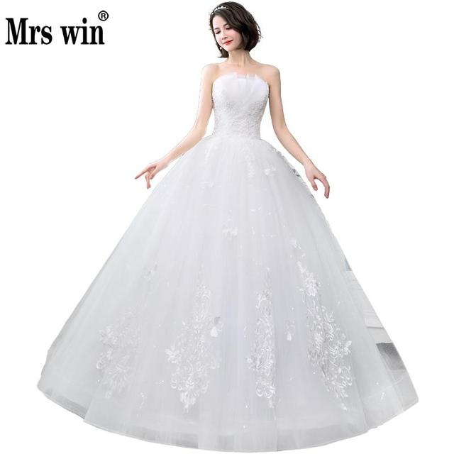 cc93add6605 New 2018 Sexy Strapless Wedding Dress Princess Lace Simple Wedding Dresses  Summer Flowers Off White Wedding Gown Lace Up