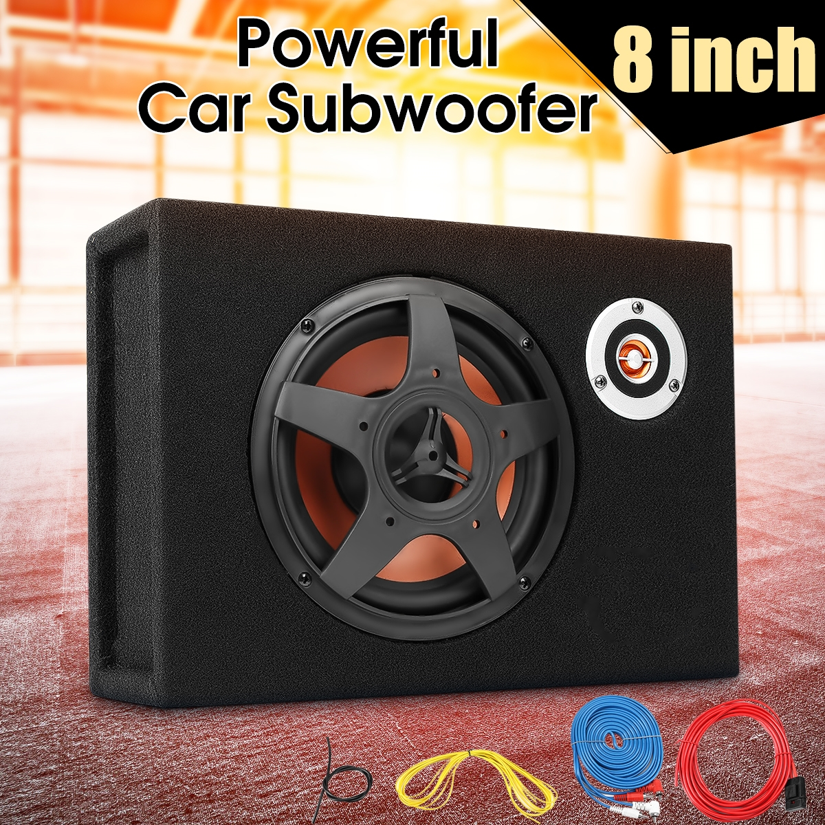 8 inch bluetooth car home subwoofer under seat sub 600w stereo subwoofer car audio speaker music system sound woofer KROAK 8 Inch 480W Car Ultra Thin Subwoofer Speaker Vehicle Under-Seat Car Subwoofer Modified Speaker Stereo Audio Bass Amplifier