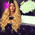 9А Класс 150% Плотность Человеческих Волос парики Ombre 1b/27 # мода волна полный парик шнурка Девы волос glueless парик фронта шнурка парик