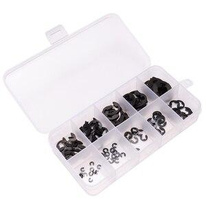 120 szt. E-clip ze stali nierdzewnej czarny pierścień zabezpieczający i pierścień ustalający zestaw asortymentowy 1.5mm do 10mm Mayitr