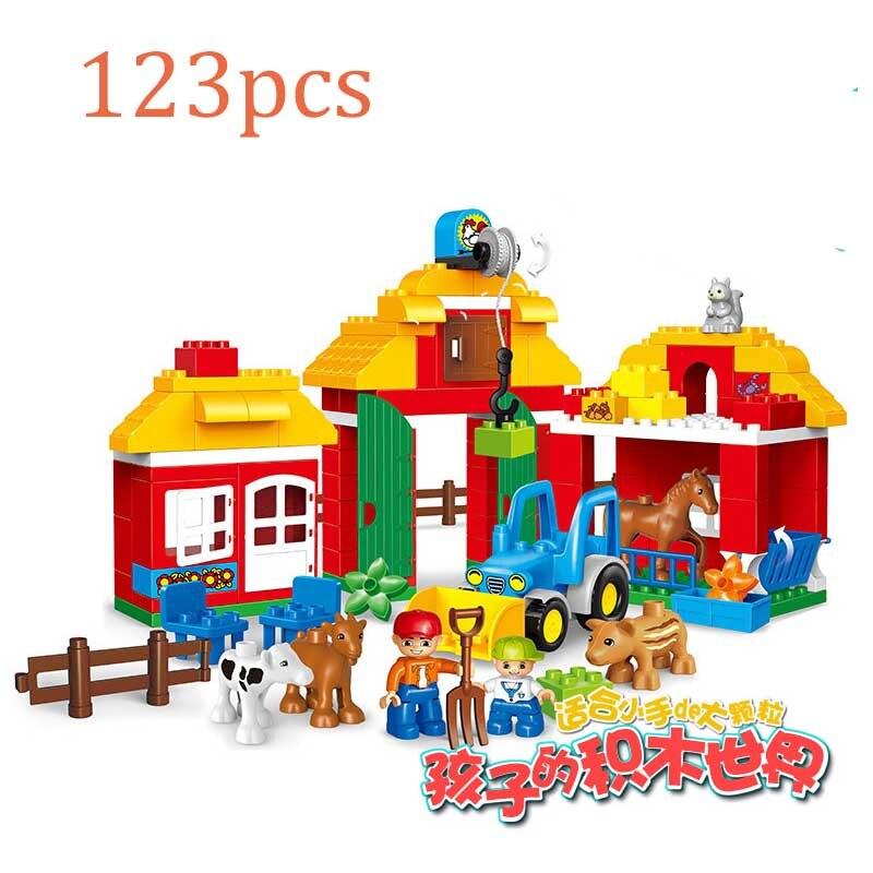 123 pièces grosses particules bricolage heureux ferme animaux moutons blocs de construction briques éducatifs bébé jouets compatibles Duplo