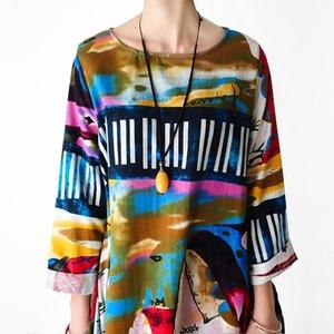 Image 4 - Johnature 2020 New Print Women Maxi Dress Cotton Linen Long Sleeve Robe O Neck Loose Plus Size Long Spring Loose Dress