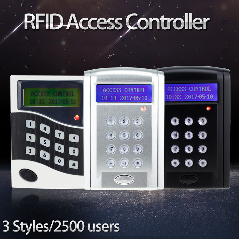 RFID door access controller with LCD screen 125KHz/13.56MHz smart card reader DC12V lock for security and protection system rfid card reader door access controller