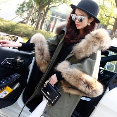 2017 new winter jacket coat women parka autumn winter Raccoon big fur collar hooded ArmyGreen Casual Flare Sleeve cloak coat