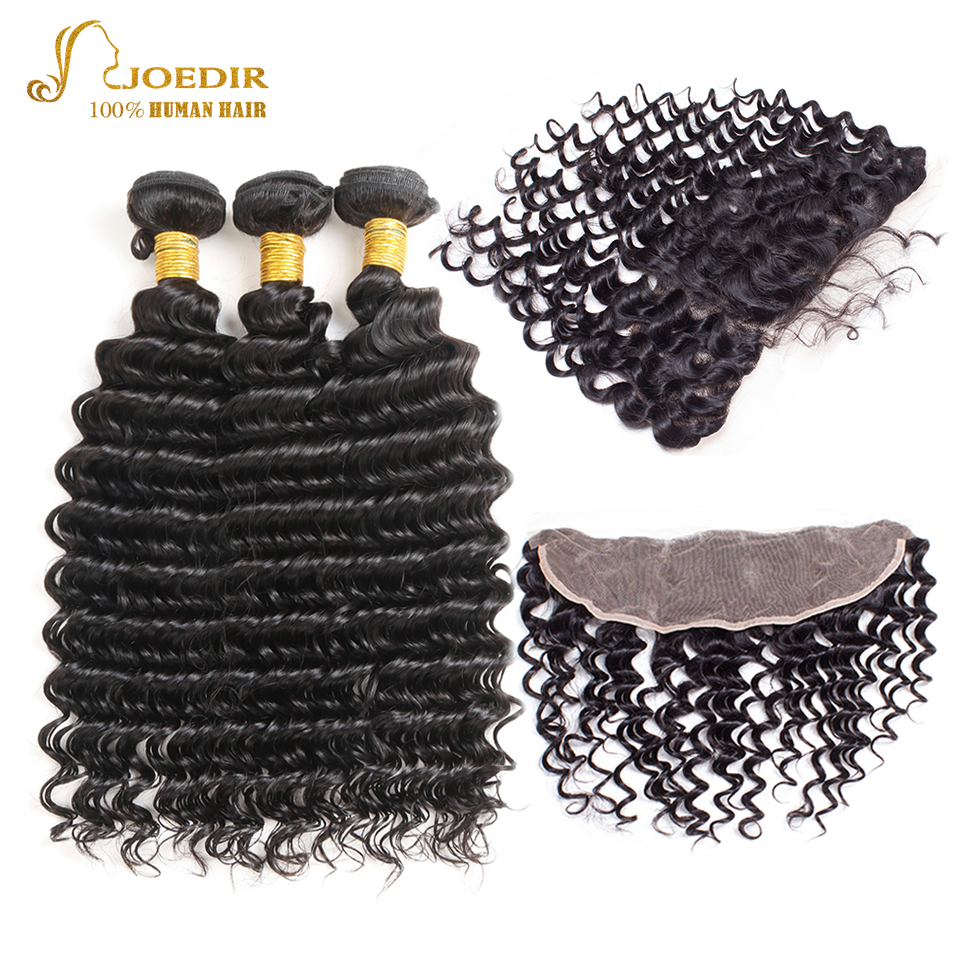 Joedir Brazilian Non Remy Hair Deep Wave 3 Bundles With 13x4 Frontal Human Hair Extensions With Free Part Lace Frontal Closure