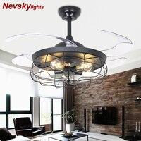 Loft ventilador de teto Ceiling Fan With Lights Black Folding Ceiling Fans With Remote Control Bedroom Retractable Fan Lamp 220V