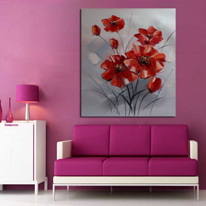 New Decorative Oil Paintings Wall Picture Simple Red Flowers