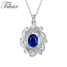 Pendant Necklaces Silver Plated Ladies Luxury Large Blue Classic Carving Flower Zircon Crystal Jewelry Accessories HFNE0405