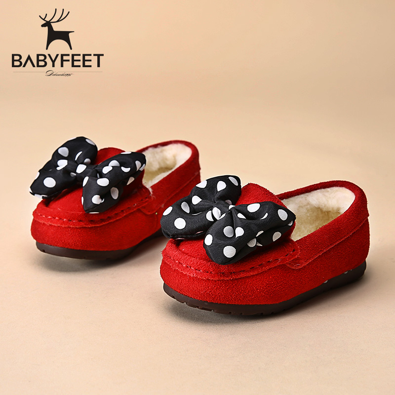 Babyfeet Winter children flat shoes slip on bowtie Little girl infant sneakers warm lazy shoes princess loafers butterfly Knot babyfeet 2017 winter children shoes fashion warm suede leather sport running school tenis girl infant boys sneakers flat loafers