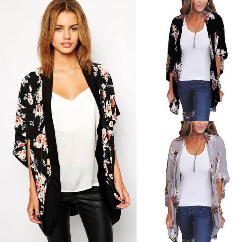 4235e170a1b Plus Size Women Floral Loose Shawl Vintage Kimono Cardigan Boho Chiffon  Sheer Kimono Blouse Shirts Cover Up Tops