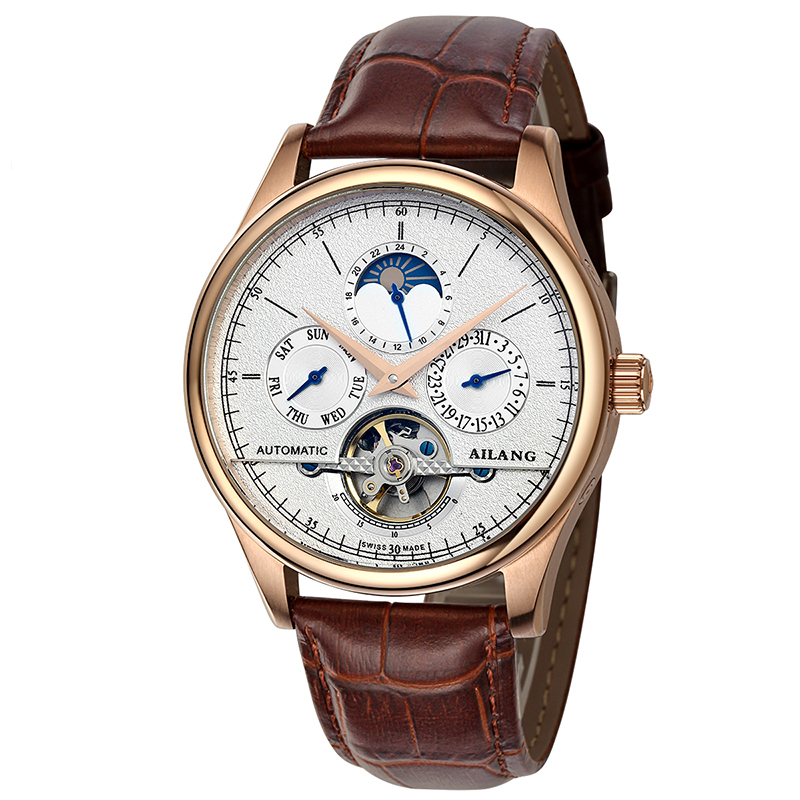 AILANG 6826 Switzerland watches men luxury brand automatic multi-functional Moon Phase Watch tourbillon gold relogio masculino ailang 8221a switzerland watches men luxury brand automatic double tourbillon moon phase hollow business watch relogio masculino