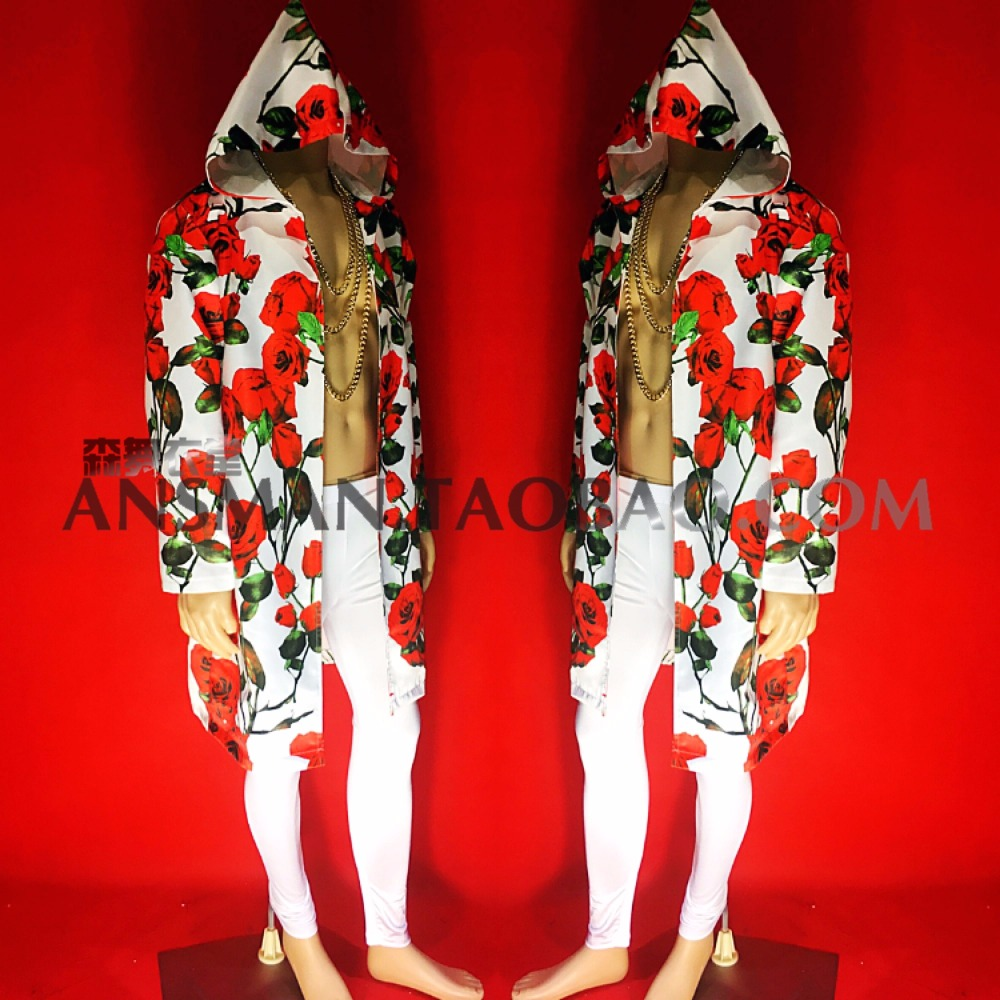 Nightclubs ds Costumes Man Stage Performs costume Party Sexy Rose Printed long cloak Nightclub Male singer Celebrity Coat