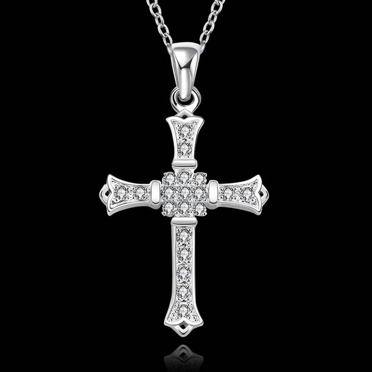 4835cc1bd2e2e SPCN633 High Quality 925 Sterling Silver Cross Pendant Necklace For Men  Women With Natural Stones 925 Sterling Silver Jewelry -in Pendant Necklaces  from ...