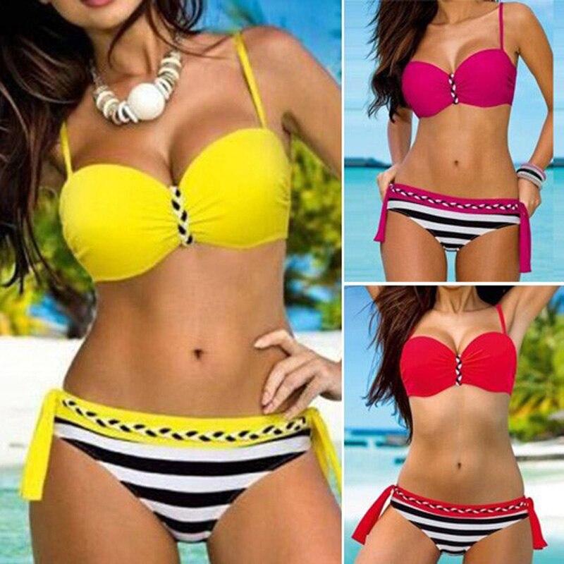 Sexy Brazilian Push Up Biquini Swimwear Female Stripe Tanga Bikinis Halter Bandeau Swimsuit Beach Bathing Suit Maillot De Bain kiniki kelly tanga mens