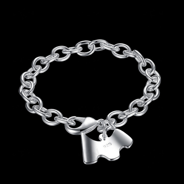 Vintage Antique Silver Jewelry Fashion Bracelets Shard Charm Cute Puppy Pandant Bracelet Bangle For Women Party