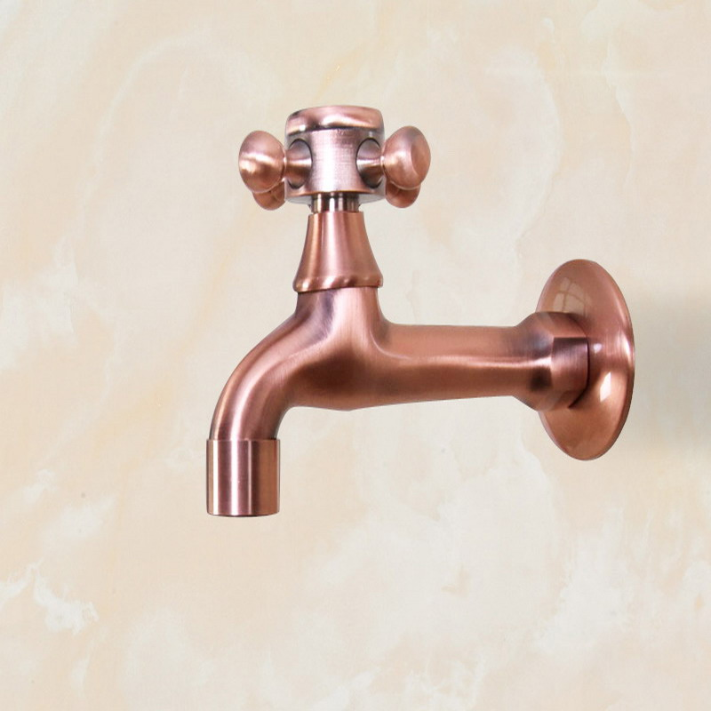 Antique Red Copper Wall Mount Garden Bibcock Washing Machine Faucet Bathroom Mop Faucet Outdoor Faucet Single Cold Tap KD080 in Bibcocks from Home Improvement