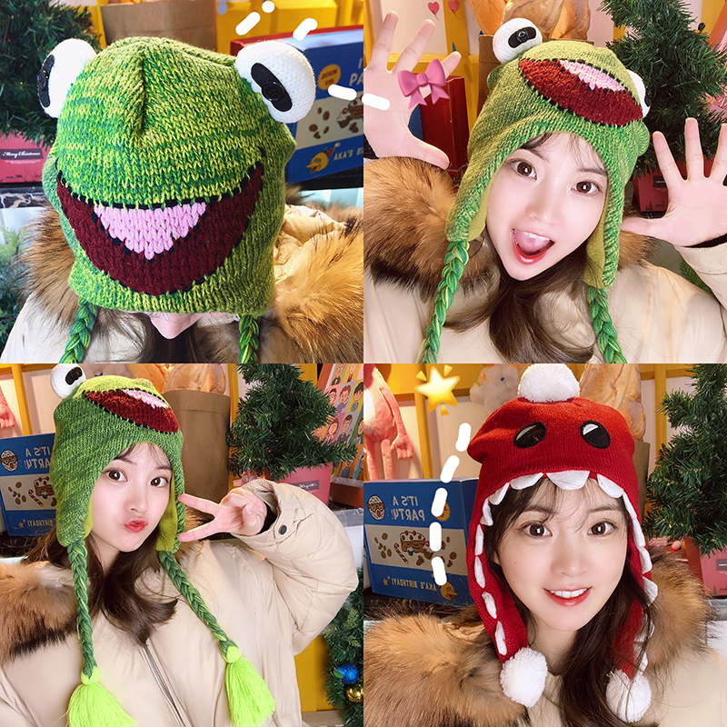 The New Japanese Cartoon Hat, Lovely Frog Han Edition Photo Props Warm Earmuffs Knitting Hat Female Students