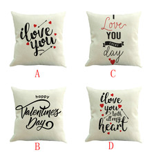 2019 latest hot sale INS styleHappy Valentine Pillow Cases Linen Sofa Cushion Cover Home Decor Pillow Case