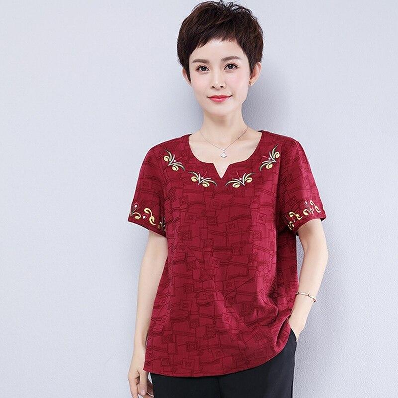 красная Футболка с вышивкой женская хлопок рубашки свободные для полных блузки женские больших размеров туники лето
