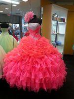 IM065 сексуальное вечернее платье без бретелек платье для выпускного вечера 2016 милое 15 платье с рюшами красное блестящее Пышное Платье Новинк