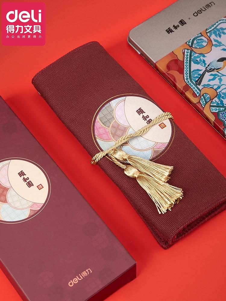 Deli Summer Palace Pen Curtain Retro Tassels Chinese Pen Bag Students'neutral Pen Bag Auspicious Canvas Pencilcase Pencil Cases