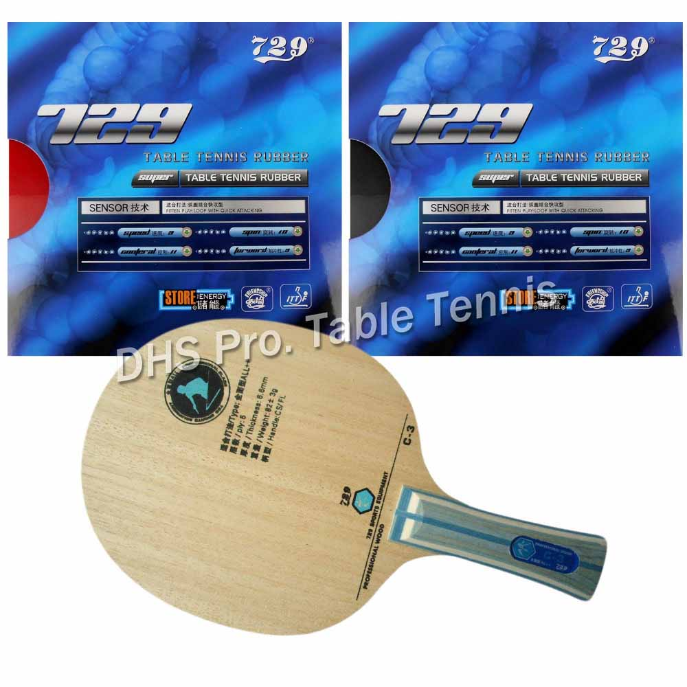 NEW table tennis racket RITC729 C-3 with 2x SUPER FX 729 Rubbers ping pong paddel table tennis bat цена
