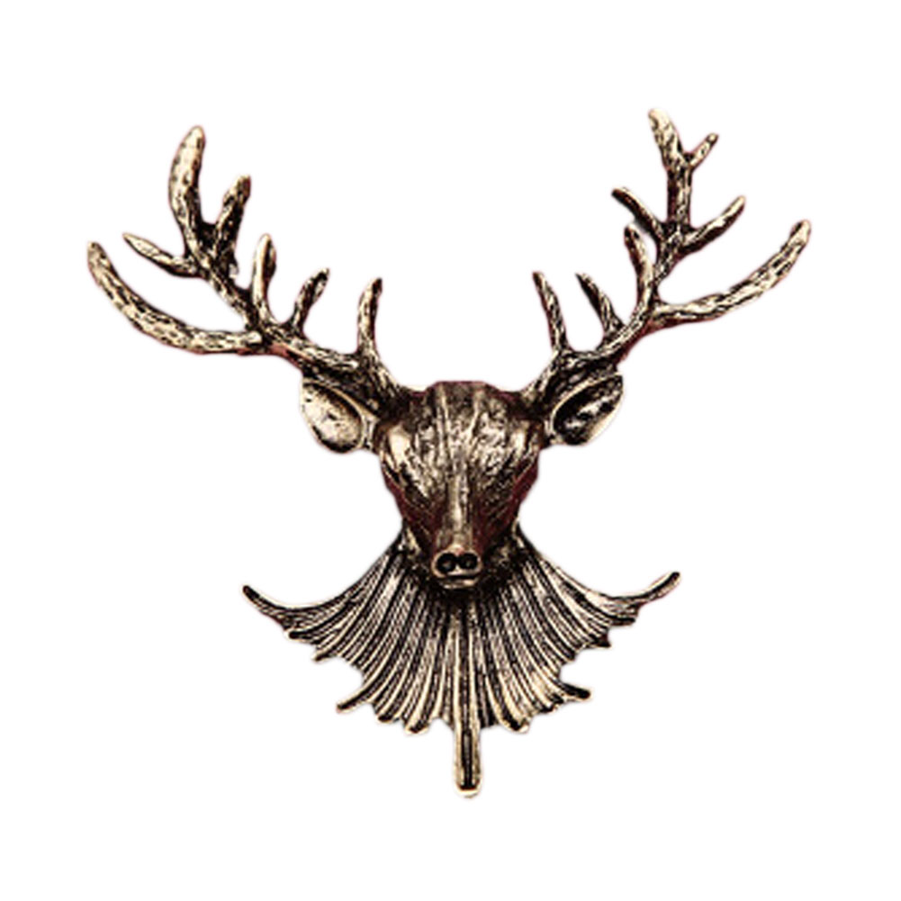 Elk Deer Head Brooch Pins Women Men Brooches Hijab Pin Lapel Jewelry Accessories Badges Christmas Gift