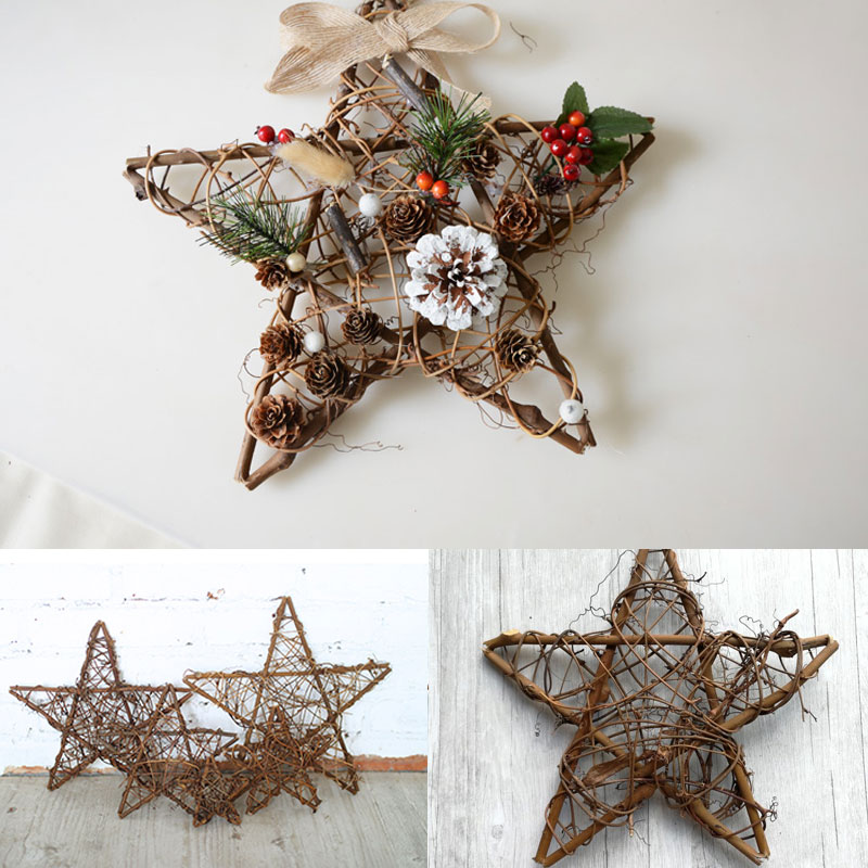 Rattan Christmas Door Hanging Decoration Pentagram shaped ...