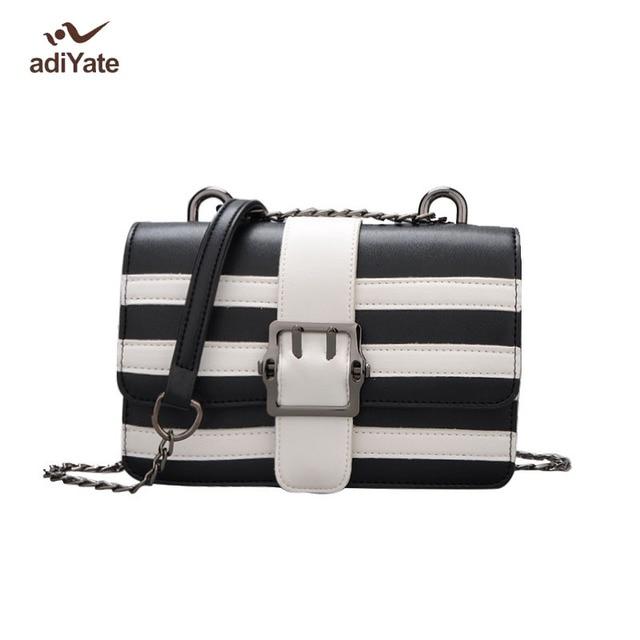 6e136d8f0a ADIYATE Luxury Italian Leather Bags Zebra Fashion Chain Square Shoulder Bags  Bolsas Feminina Female Women Messenger Bag Pochete
