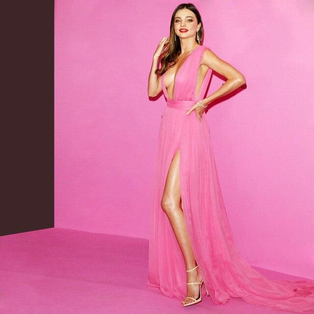 Sexy Stylish Miranda Kerr Celebrity Dress High Side Slit Deep V Neck