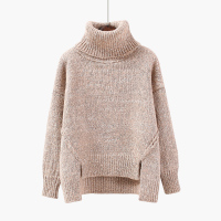 Women Turtleneck Sweater Loose Thicken Pullover 2019 New Fashion Winter Long Sleeve Slit Warm Knitted Sweater Female Casual Top