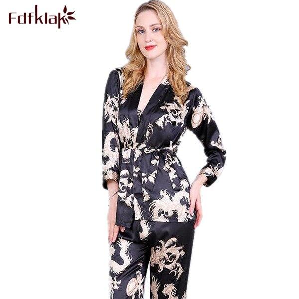 Fdfklak High Quality Faux Silk Family Set Pajamas Sexy Nightwear Home Clothes Pyjamas Women Pijamas Mujer Sleepwear Sets Q402