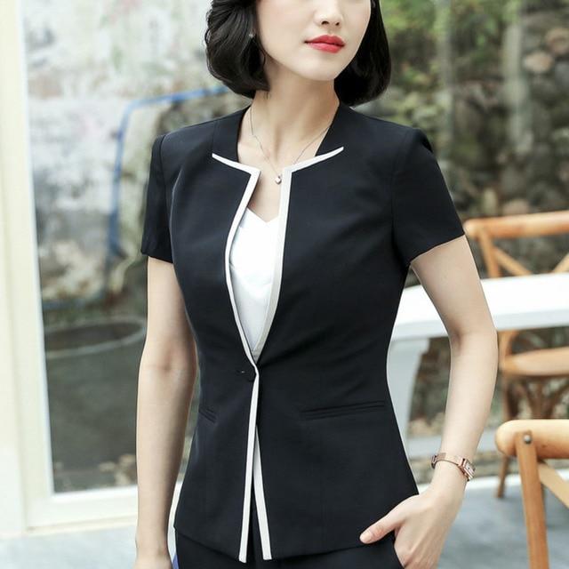Suits Women Blazer Blazers Gray Black Womens Formal Jackets Coats Short  Sleeve Office Uniform Style Elegant e282e34d6