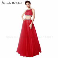 Sexy Two Piece Dresses Evening Dress Red Tulle 2017 Fashion Handmade Beading Formal Prom Gowns Sleeveless