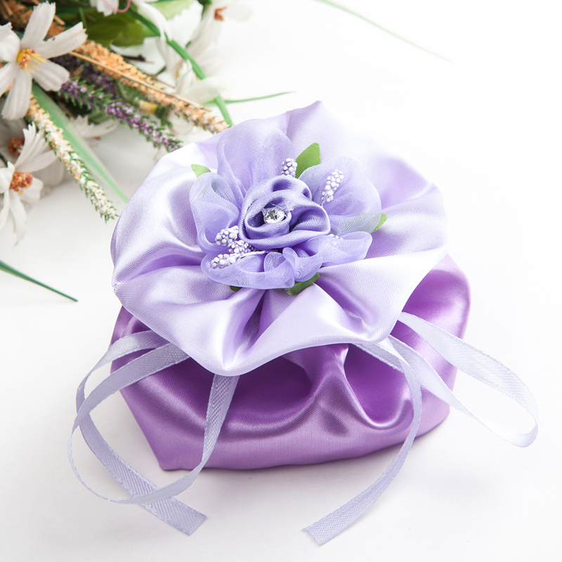 Wedding Gift Flowers: Wedding Candy Bags Flowers Satin Bag S M L Purple Wedding