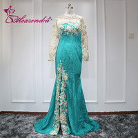 Alexzendra Lace Mermaid Formal Evening Dress with Long Sleeves Bead Green Long Sexy Illusion Back Party Gowns